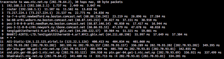 Traceroute result